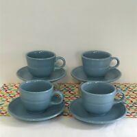 Fiestaware Periwinkle Teacup and Saucer Fiesta Retired Blue Tea Cup LOT of 4