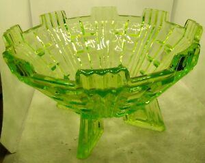 GREEN  ART DECO PATTERNED URANIUM FRUIT BOWL