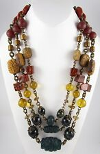 OUTSTANDING STEPHEN DWECK BRONZE SEMI PRECIOUS STONE TRIPLE STRAND NECKLACE