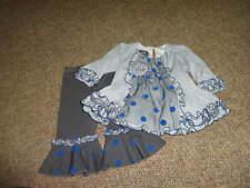 BOUTIQUE ISOBELLA & CHLOE 6M 6 MONTHS BLUE GRAY DRESS PANT SET