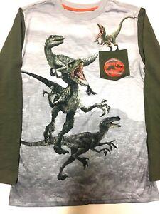 Jurassic World Kids T Shirt Long Sleeve Gray & Green Dinosaur Size XLG (14/16)