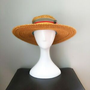Vintage 1960s1970s Womens Black Woven Straw Wide Brim Hat with Ribbon Bow