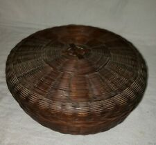"""Antique Vintage Wicker Sewing Basket Brown Woven 11"""" X 4""""  cp"""