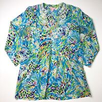 Lilly Pulitzer Sarasota Beaded Tunic Small Resort White Sea Cotton