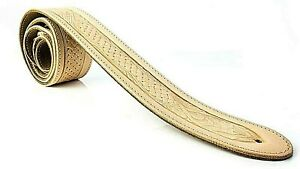 NATURAL EMBOSSED TEXAN GENUINE LEATHER ACOUSTIC ELECTRIC BASS GUITAR STRAP