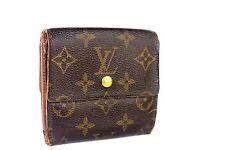 Auth LOUIS VUITTON Elise Trifold Monogram Canvas Leather Wallet France TH0020