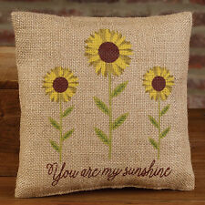 "YOU ARE MY SUNSHINE 8"" Stenciled Burlap Pillow Sign Stenciled Sunflower"