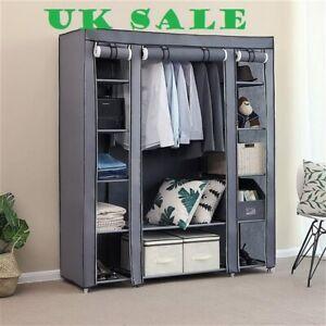 "69"" Portable Grey Clothes Closet Wardrobe Storage Organizer,Non-Woven Fabric,UK"