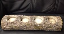 Teelichthalter Kerzenhalter 4fach In toller Baumstamm Optik sehr schwer 30 cm