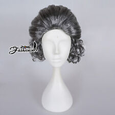 Womens Ladies Fancy Cosplay Curly Granny Old Lady Grandma Nanna Gray Wig