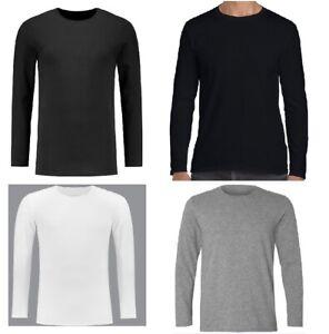 Men's Plain Blank T-shirt Basic Tee White Black Grey Long Sleeve New Bulk