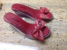 Daniel Ladies  red leather / clear plastic Shoes mules Size 36