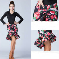 Womens Latin Dance Floral Fishtail Skirt Dress Salsa Tango Ballroom Rumba Modern