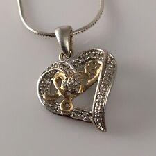 "925 Sterling Silver Diamond Heart Love 16"" Necklace"