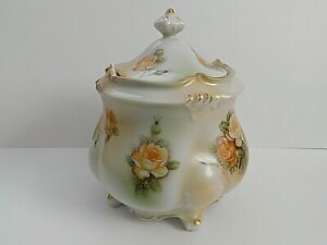 """R.S. Prussia Reproduction Red Mark-Biscuit Jar """" Yellow Rosses """""""