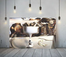 More details for dali face and fruit dish- framed canvas wall art picture paper print- brown
