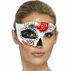 Day of the Dead Half Eyemask Halloween Accessories Masquerade Ball Smiffys 44279