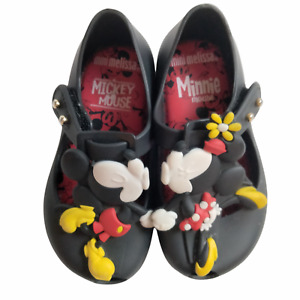 Mini Melissa Girl's 6 Minnie and Mickey Mouse Kissing Shoes Black Red Yellow