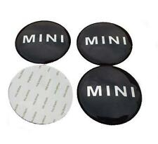 4 X MINI WHEEL CENTER CAPS BADGE STICKER 50MM ALUMINIUM EMBLEM LOGO COOPER
