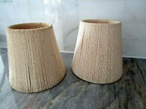 Vintage Cream Color Shabby String Clip-on Shades (Set Of 2) Perfectly aged look