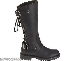 Harley Davidson Alexa Ladies Biker Boots Black Leather Back Lace Riding Boot