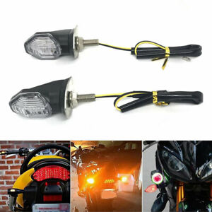 2PCS LED Mini Motorcycle Motorbike Turn Signal Lights Indicators Amber Lamps