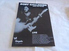 RORY GALLAGHER - Publicité / Advert !! VINTAGE 70'S !! LIVE !!