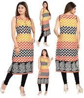 Indian Pakistani Sleeveless Cotton Kurta Dress Kurti Tunic Top Shirt Women MM118