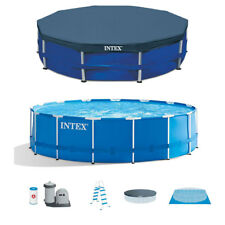 "Intex 15' x 48"" Metal Frame Above Ground Swimming Pool Set & 15' Pool Cover"