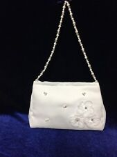 White Satin Bag With Beaded Handle  Holy Communion, Bridesmaid/Flower Girl BN