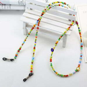 Multi colour Vintage retro Glasses chain love Beads Cord Strap Spectacles Gift