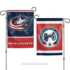 """COLUMBUS BLUE JACKETS 2 SIDED GARDEN FLAG 12""""X18"""" YARD BANNER OUTDOOR RATED"""