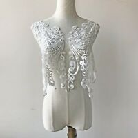 Embroidery Corded Sequin Lace Applique Patch DIY Bridal Wedding Dress Bodice 1PC