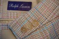 Ralph Lauren Purple Label Beige Blue Linen Silk Sport Coat Jacket Sz 40S Italy