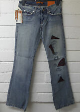 Womens Ladies New Light Blue Denim Patchwork Sequin Flare Boot cut Jeans UK 8-14