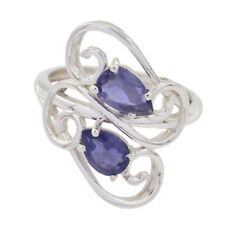Nice Gemstone Pear Faceted Iolite ring - Solid Silver Blue Iolite Nice AU