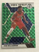 ZION WILLIAMSON ROOKIE 2019-20 PANINI GREEN PRIZM MOSAIC NBA DEBUT  - PELICANS