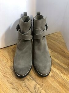 NEW!! SAM EDELMAN  Gray Suede Leather Ankle Boots Booties 7.5