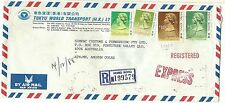 China Hong Kong registered express airmail cover $17.40 rate to Australia 1988