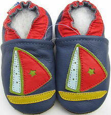 carozoo sailboat blue 12-18m soft sole leather baby shoes