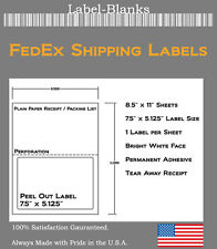250 FedEx Shipping Labels. Label with Tear off Receipt. Laser Ink Jet 5327 5127