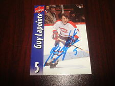 GUY LAPOINTE CANADIENS MOLSON EXPORT INSERT SIGNED AUTOGRAPH NHL HOCKEY CARD M7
