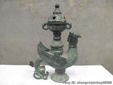 "11.5""Chinese Folk old Bronze Carved Phoenix phenix Incense burner"