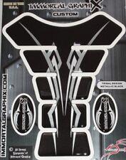 Black Silver  Metallic Design 3D Gel Motorcycle Gas Tank Pad tankpad Protector