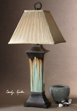 Southwestern table lamps ebay western southwestern turquoise green brown porcelain metal olinda table lamp 37h aloadofball Image collections
