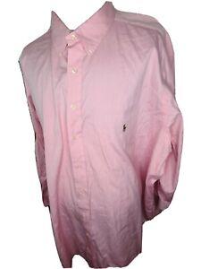 Polo Ralph Lauren Mens Pink Button Down Dress Shirt Size 21 34/35 Big