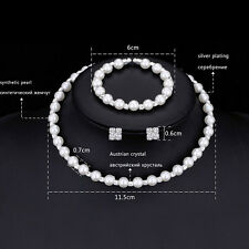 1Set Pearl Crystal Bridesmaid Wedding Jewellery Set Necklace Bracelet Earrings<Z