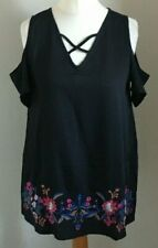 BEYOU Size 12/14 Ladies Black Top With Multicoloured Floral Print