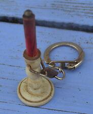Porte-clé des années 1960-70, Bougeoir Diamantine, bougie rouge