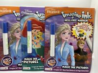Lot Of 3 Bendon Disney Princess Ariel Elsa Frozen Magic Ink Books MESS FREE!